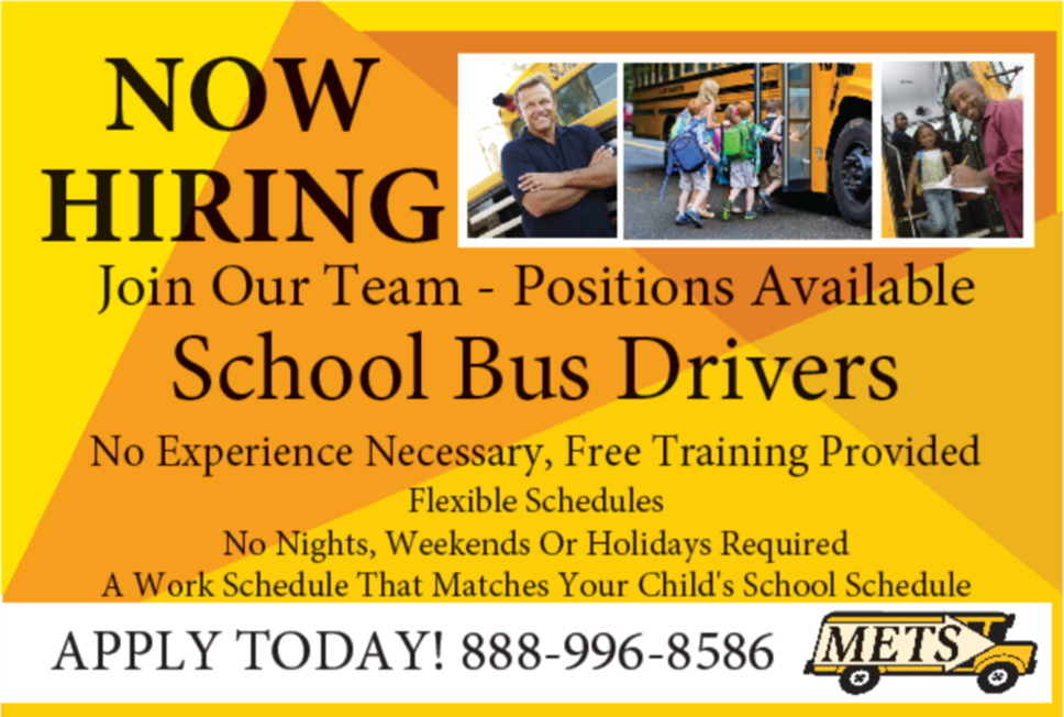 Bus Drivers Needed. Call 888-996-8586